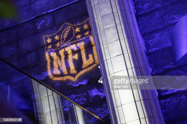 An NFL logo on display at Rise Up For Resilience Gala Hosted By Tuesday's Children on September 13 2018 in New York City