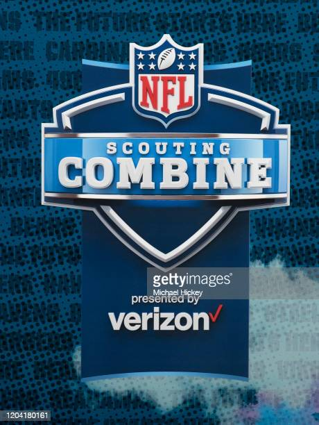 An NFL Scouting Combine logo is seen on day four of the NFL Combine at Lucas Oil Stadium on February 28, 2020 in Indianapolis, Indiana.