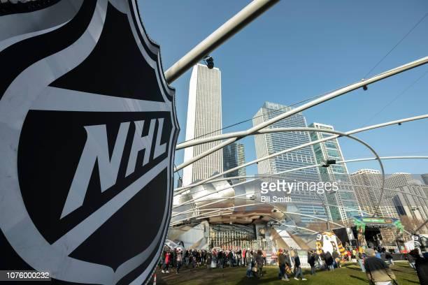 An NHL logo at the Bridgestone NHL Winter Classic Park fan festival at Millenium Park on December 30 2018 in Chicago Illinois