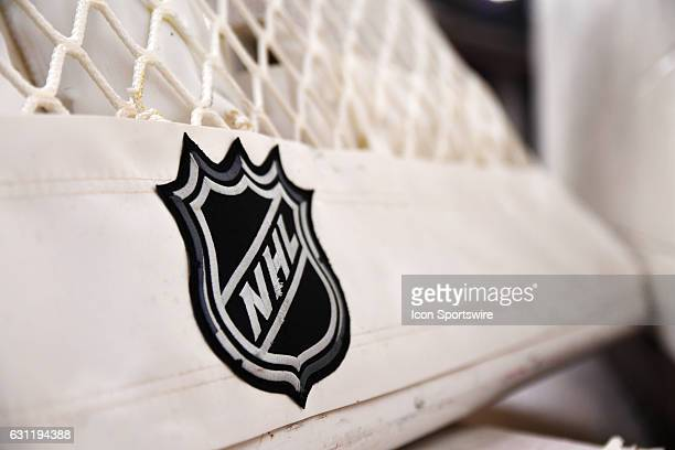 An NHL logo is displayed on a net prior to a game between the Carolina Hurricanes and the Chicago Blackhawks on January 6 at the United Center in...