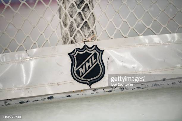 An NHL logo is seen prior to a game between the Nashville Predators and the Chicago Blackhawks on January 9 at the United Center in Chicago IL