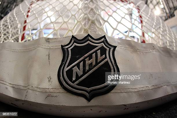 An NHL logo on a goal at American Airlines Center on April 8 2010 in Dallas Texas