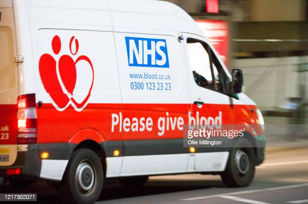 An NHS blood donor van is seen outside St Thomas Hospital in Westminster where British Prime Minister Boris Johnson has now been transferred to the...