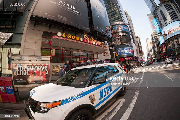 An NYPD vehicle in New York parked in front of subway entrance in Times Square on Tuesday March 22 2016 Security in New York has been heightened in...