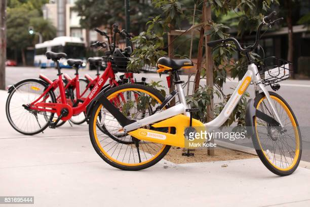 An O Bike and two Reddy Go bicycles are seen on August 15 2017 in Sydney Australia New dockless bike sharing service including O Bike and Reddy Go...