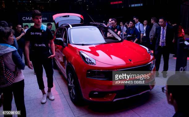 An O1 from Chinese car maker LYNK and Co is pictured during a media preview for the 17th Shanghai International Automobile Industry Exhibition in...