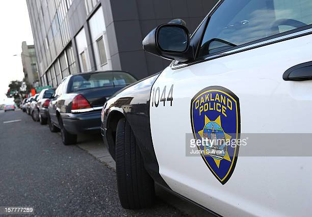 An Oakland Police patrol car sits in front of the Oakland Police headquarters on December 6 2012 in Oakland California Oakland City officials have...