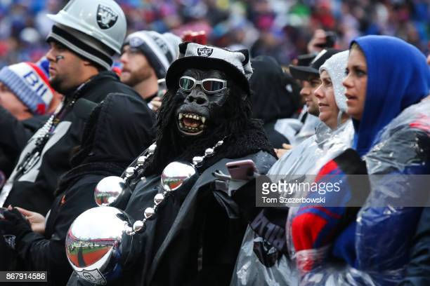 An Oakland Raiders fan during the fourth quarter of an NFL game against the Buffalo Bills on October 29 2017 at New Era Field in Orchard Park New York