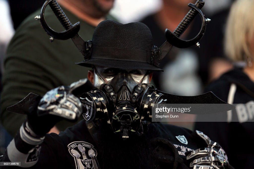 An Oakland Raiders fan is seen during the game against the Los Angeles Chargers at StubHub Center on December 31, 2017 in Carson, California.