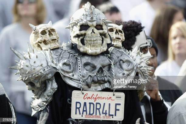 An Oakland Raiders fan shows his support for his team during the game against the Minnesota Vikings on November 16 2003 at Network Associates...