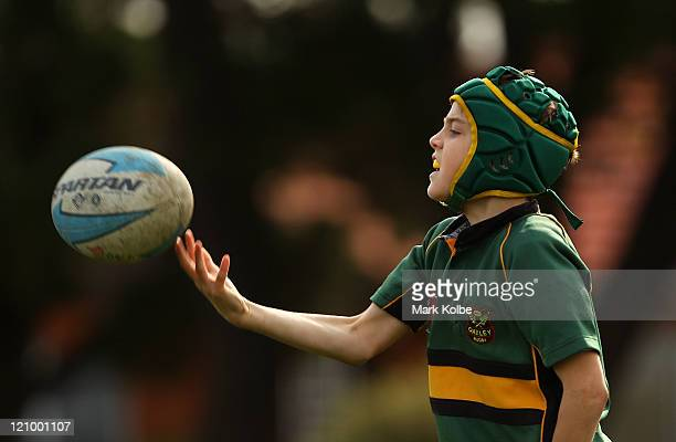 An Oatley player celebrates after scoring a try during the under 10's junior rugby union semi final match between Oatley and Coogee Grey at Nagle...
