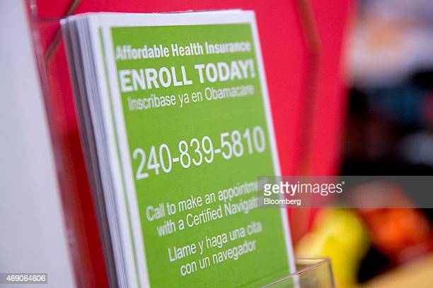 An Obamacare enrollment informational pamphlet sits on display at a Community Clinic Inc. Health center in Silver Spring, Maryland, U.S., on...