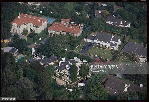 An obscene message stands out on the roof of Whoopi Goldberg's mansion the day of her marriage to Lyle Trachtenberg