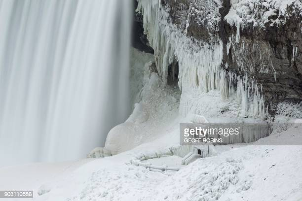 TOPSHOT An observation point at the base of Niagara Falls is covered with ice in Niagara Falls Ontario is covered in ice January 9 2018 A giant...