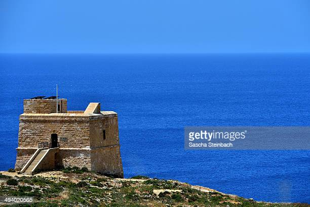 An observation tower near the natural arch 'The Azure Window' is seen at Dwejra Bay on May 20 2014 in Dwejra/Gozo Malta
