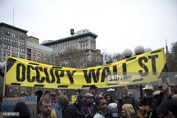 An Occupy Wall Street banner is seen in Union Square at the end of a march from Zuccotti Park to Union Square on March 24, 2012 in New York City. The...