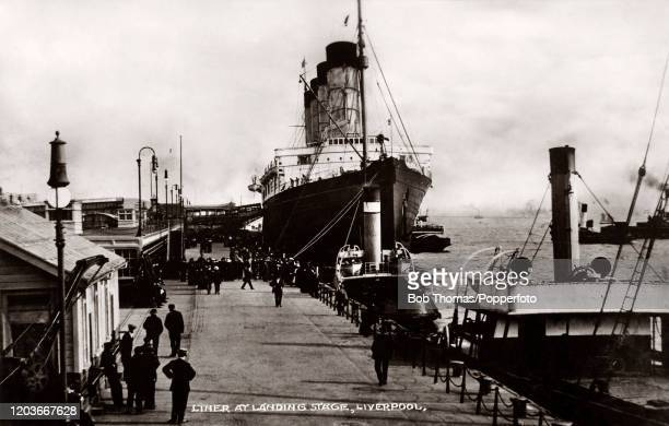 An ocean liner at the Landing Stage at Liverpool, England, circa 1910.