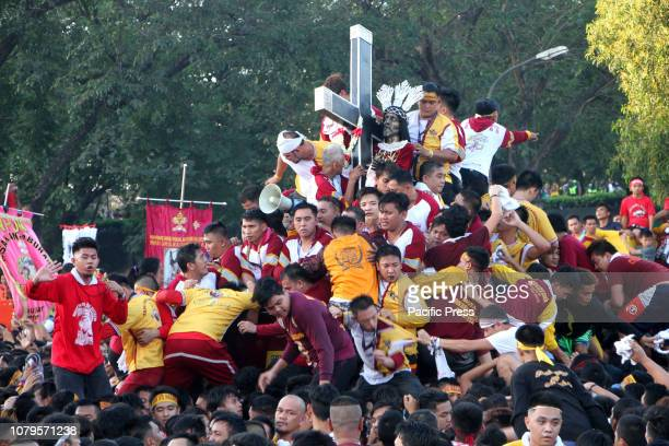 An ocean of devotees flooded at Rizal Park in Manila to join the Traslacion of the Black Nazarene Festival beside of Manila Hotel in Manila City...