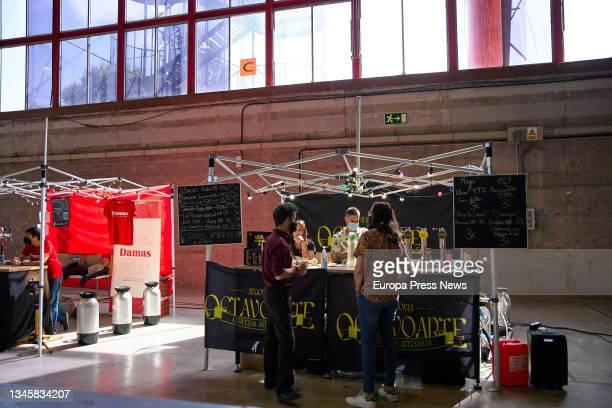 An Octavo Arte beer stand, at the sixth edition of the Beermad 2021 Craft Beer Festival, at the Palacio de Cristal de la Casa de Campo in Madrid, on...