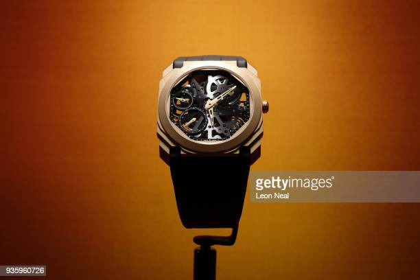 An Octo Finissimo Skeleton is displayed at the BaselWorld watch fair on March 21 2018 in Basel Switzerland The annual watch trade fair sees the very...