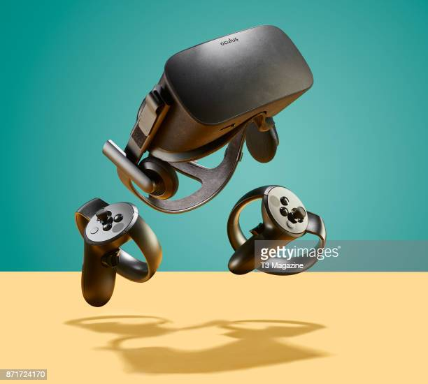 An Oculus Rift VR headset and Oculus Touch controllers taken on March 15 2017