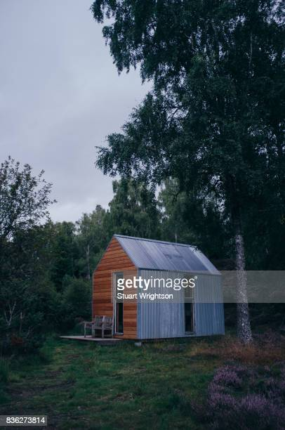 An off grid log cabin in the forest, locally known as a Bothy.