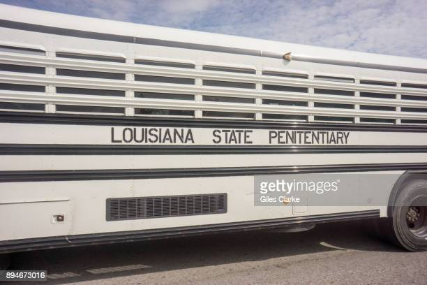 PRISON LOUISIANA OCTOBER An offender transportation bus at Angola prison The Louisiana State Penitentiary also known as Angola and nicknamed the...