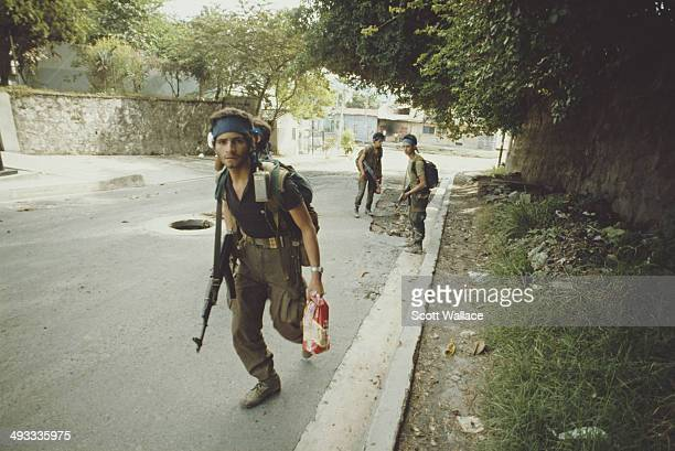 An offensive by the FMLN in San Salvador El Salvador during the Salvadoran Civil War November 1989