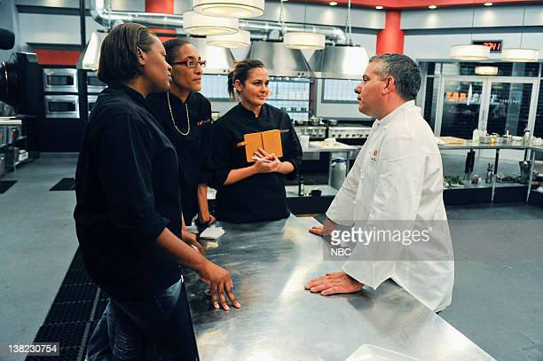 TOP CHEF An Offer They Can't Refuse Episode 808 Pictured Contestants Tiffany Derry Carla Hall Antonia Lofaso guest Dino Gatto