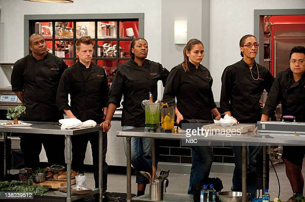 """An Offer They Can't Refuse"""" Episode 808 -- Pictured: Contestants Tre Wilcox, Richard Blais, TIffany Derry, Antonia Lofaso, Carla Hall, Dale Talde"""