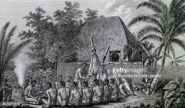 An offering before Captain Cook in the Sandwich Islands ca 1778 drawing by John Webber engraved by John Hall and Samuel Middiman from Third voyage of...