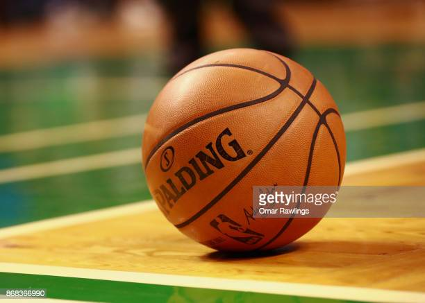 An offical NBA Spalding basketball on the court during the game against the Boston Celtics and San Antonio Spurs at TD Garden on October 30 2017 in...