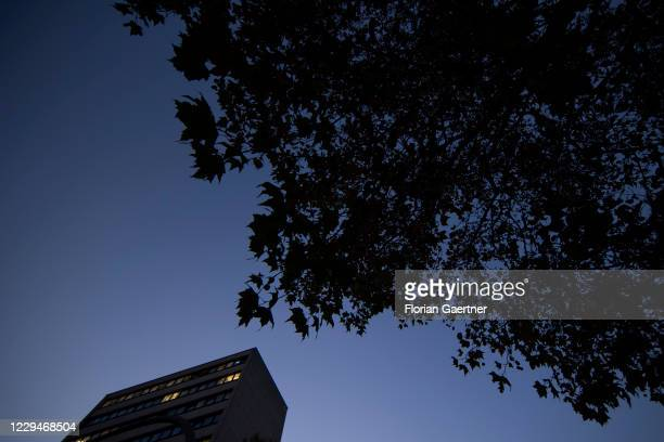 An office block is pictured during blue hour on November 04, 2020 in Berlin, Germany.