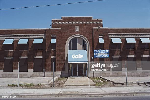 An office building for lease in Detroit Michigan with a Gale sign over the front door awning April 1985