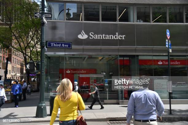 An office of Santander bank is seen on 3rd Avenue in New York City, on May 11, 2018.
