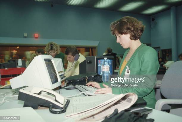 An office worker during the launch of Sky TV in London 5th February 1989