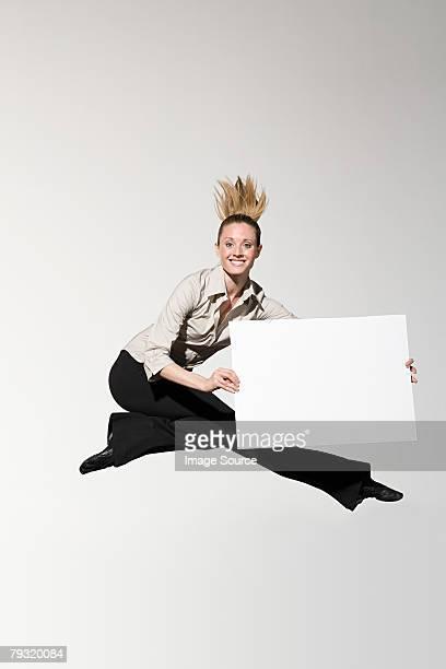 An office worker jumping