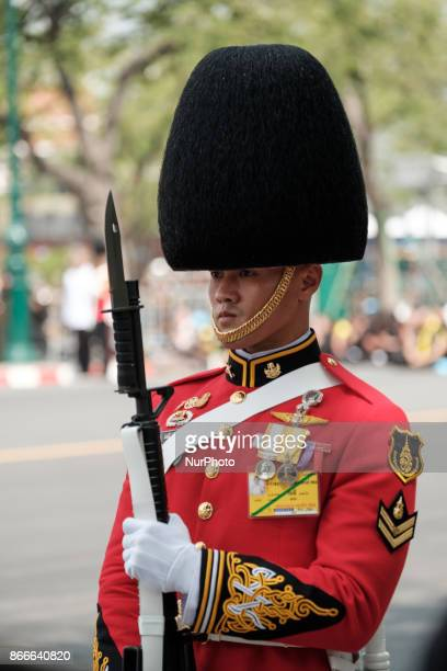 An officer at the funeral procession of honour for the late Thai King Bhumiphol Adulyadej in Bangkok on October 26 2017
