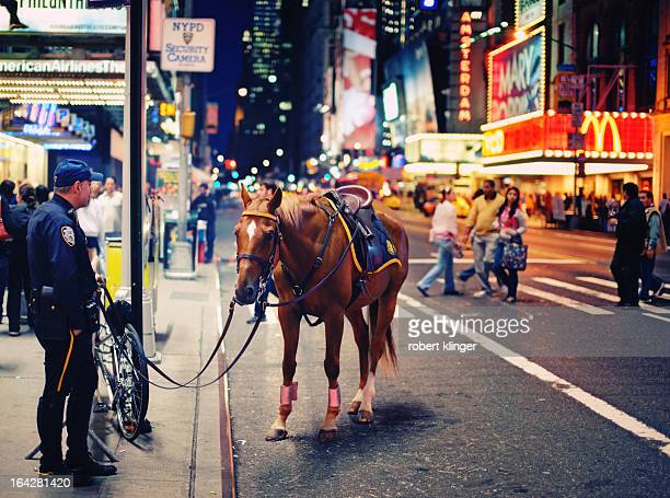 An officer of the NYPD standing beside his patrol horse near Times Square, New York City
