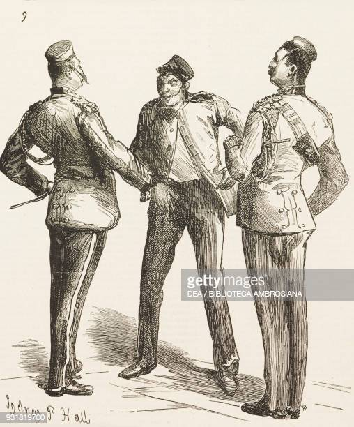 An officer rebuke a drunken soldier the return of the troops from the war in Egypt public banquet to the First Life Guards regiment at Humphrey's...