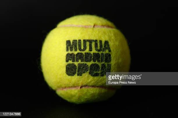 An official ball from the Mutua Madrid Open professional tennis tournament The competition will be 'played' virtually from today to 30th April from...