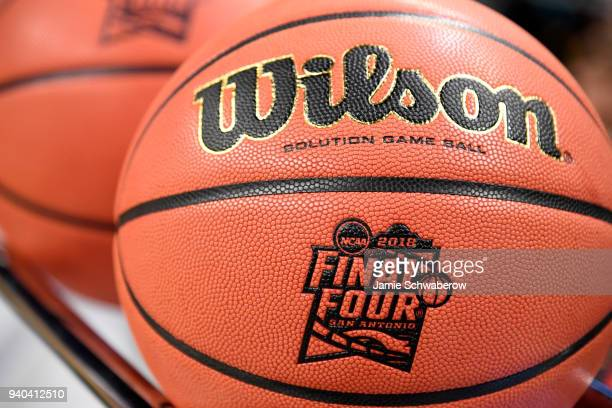 An official basketball is shown with the NCAA Photos via Getty Images Final Four logo prior to the start of the NCAA Photos via Getty Images Men's...