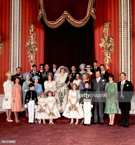 An official family photo taken on 29 July 1981 the wedding day of Prince Charles and Lady Diana the Princess of Wales Mark Phillips Prince Andrew...