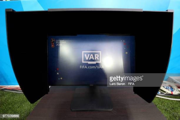 An official FIFA VAR screen is seen ahead of the 2018 FIFA World Cup Russia group E match between Brazil and Switzerland at Rostov Arena on June 17...