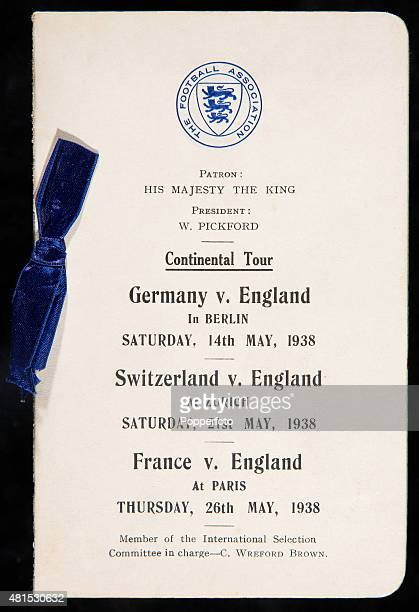 An official Football Association itinerary for England's 1938 Continental Tour with matches against Germany, Switzerland and France. The match in...