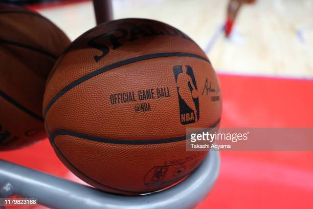 An official game ball is seen prior to the preseason game between Houston Rockets and Toronto Raptors at Saitama Super Arena on October 08 2019 in...