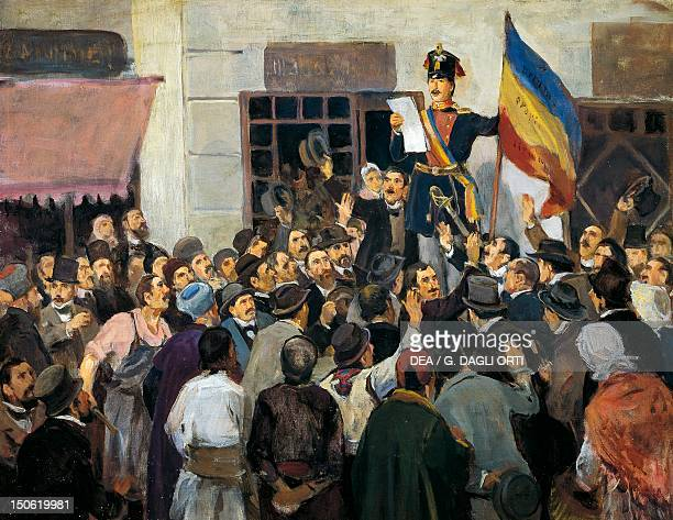 An official in Bucharest proclaiming independence from Russia June 1848 Romania 19th century