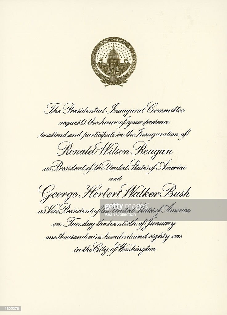 Us presidential inaugurations past photos and images getty images an official invitation to the inauguration ceremonies of president elect ronald reagan and vice president stopboris Image collections