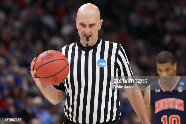 An official is seen during the game between the Kansas Jayhawks and the Auburn Tigers in the Second Round of the NCAA Basketball Tournament at Vivint...