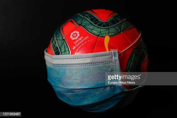 An official La Liga winter ball with a surgical mask on April 27, 2020 in Madrid, Spain.